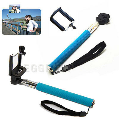Blue Extendable Handheld Telescoping Tripod Monopod Mount for iPhone5 5S 5C 4 4S
