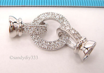 1x  Rhodium plated STERLING SILVER CZ BEADING CORD END CAP CONNECTOR CLASP #2272