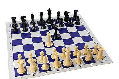 QUADRUPLE WEIGHT CHESS SET Blue Board TOURNAMENT STAUNTON PIECES NEW Game Gifts