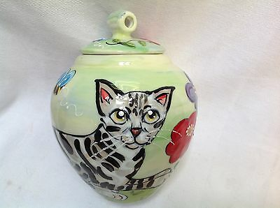 Cat Pet Memorial Urn Personalized at No Charge and Signed by Artist