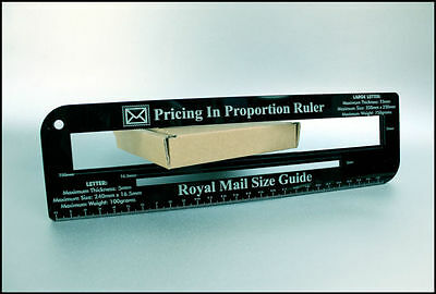 BLACK- Ruler Royal Mail PPI Letter Size Guide Post Office Price Postage Template