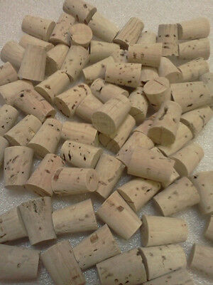"""SET-(50 Pc) Cork TAPERED Stopper for 1/4+"""" hole/opening bottle top Size GAUGE #0"""
