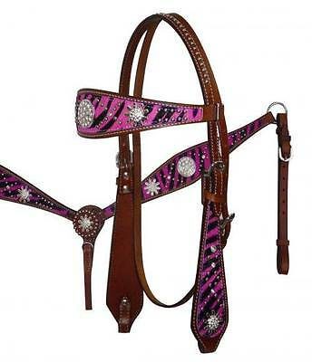 PINK Zebra Print Headstall Breast Collar Set with Sparkling Rhinestone Conchos!