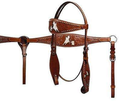 Showman wide browband headstall/breastcollar set with cut out barrel racer!