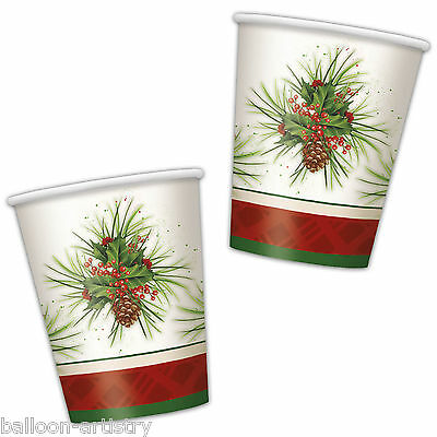 8 Classic Christmas Party Elegant Holly Disposable 9oz Paper Cups
