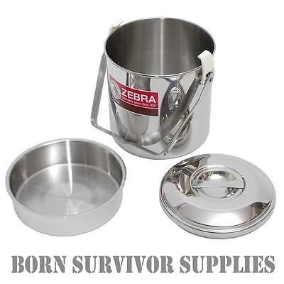 ZEBRA BILLY CAN Loop Handle Stainless Steel Cooking Pot Cans Mess Tin Pan Stove