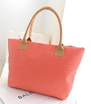 Fashion Quilted Woven Shoulder Bags Tote Purse PU Leather Women Messenger Bag