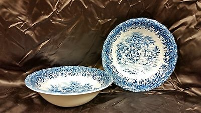 Grindley china Country Style - Blue pattern Cereal Bowl Set of 2 - chip