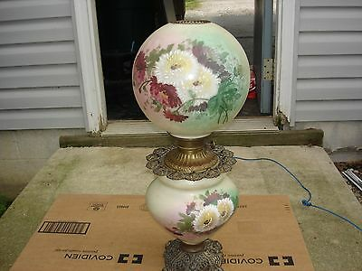Antique P & A Oil GWTW Parlor Lamp style #283 Hand Painted Poppies