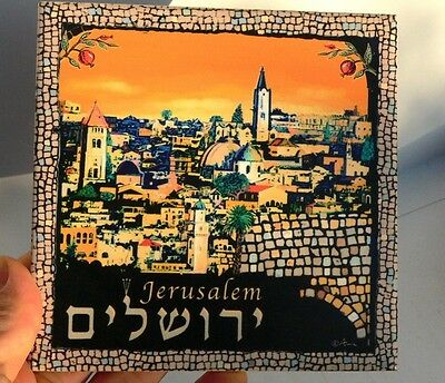 Jerusalem of Gold Wall Decor Tile Old City Temple Mount Made in Israel Holy Land