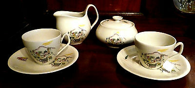 Vintage 1950s Germany Schwarzenhammer Childrens Tea Set, Creamer, Sugar, Cups +