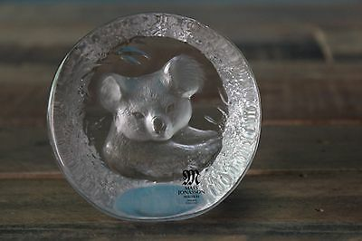 Mats Jonasson Signed Lead Crystal Koala Bear Etched Glass Paperweight FS NR