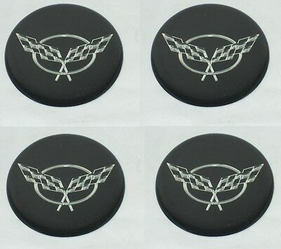 SET OF 4 CHEVY CORVETTE CROSS FLAG LOGO WHEEL RIM CENTER CAP STICKER DECAL 2.90""