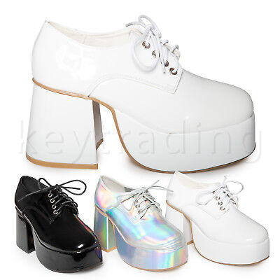 Fancy Dress Saturday Night Fever - White Silver Retro 70's Disco Platform Shoes