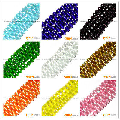 "Assorted Colors Fiber Optic Cat's Eye Round Beads For Jewelry Making 14"" In Bulk"