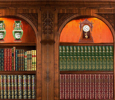 Dolls House Victorian Wallpaper Library Books Mural Quality Paper Miniature #05