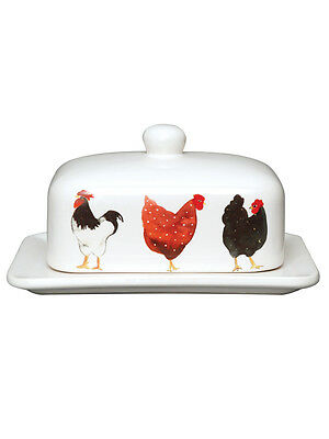 Pecking Order Hen Chicken Ceramic Butter Dish Tray Holder with Lid by Tuftop