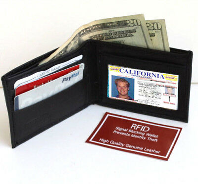 RFID Blocking Security Men's Bifold Card  Id Credit Genuine Leather Wallet Black