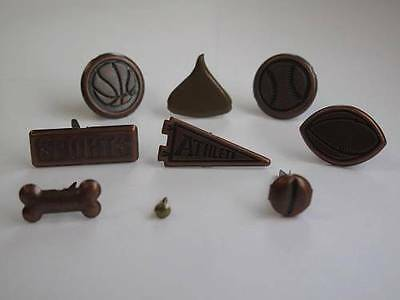 1 x Pack of Bronze Themed Brads Paper Fasteners 9 Designs to choose Scrapbooking