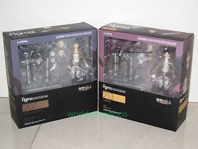 """Set of 2 Attack On Titan 6"""" Eren Yeager & Levi Action Figure Figma #207 #213"""