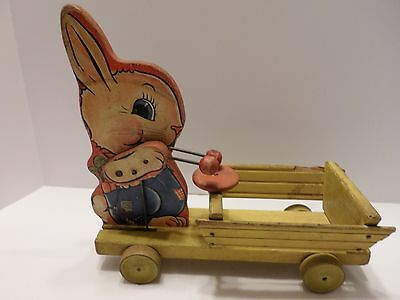 ****EARLY 1940's FISHER PRICE BUNNY DRUMMER EASTER PULL TOY**** # 512