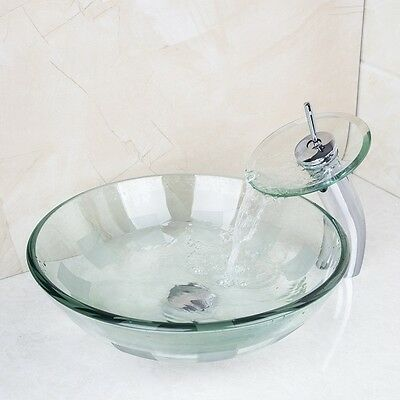 Glass Clear Counter Top Basin Vanity Round Sink + Waterfall Faucet + Drain fr457