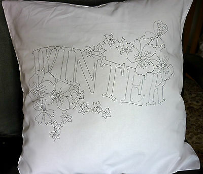 Cushion Cover Pillow Freestyle Embroidery printed embroider Winter flowers
