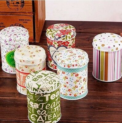 Retro Multicolor Flower Home Kitchen Coffee Tea Can Container Jar Tin Metal
