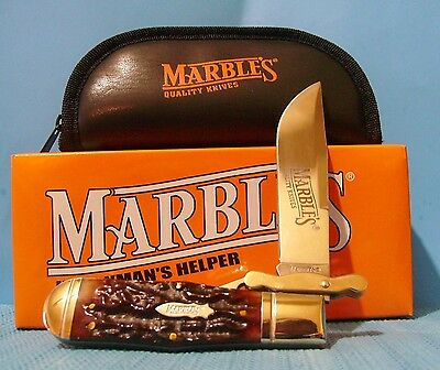 Collectible Marbles pocket knife Safety Folder swing guard Stag Handle Free ship