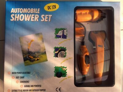 camping shower 12volt  , comes with everything you need, adjustable pressure
