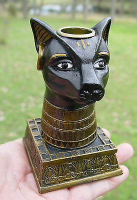 CAT BAST TAPER CANDLE HOLDER Wicca Witch Pagan Goth Egyptian GODDESS BASTET