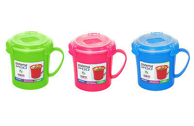 3 Sistema Microwave Soup To Go Mugs Various Colours Lunch Snack BPA free Plastic