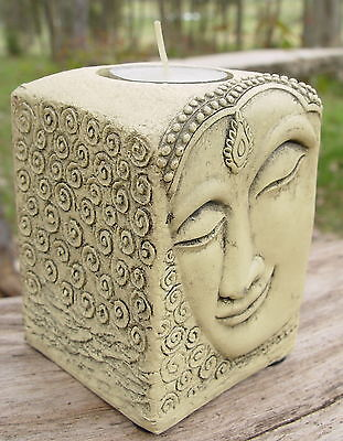 BUDDHA T-LITE CANDLE HOLDER  Wicca Witch Pagan Goth Yoga Namaste COLD CAST RESIN
