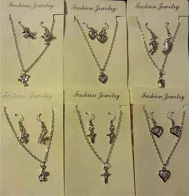 6 Necklace & Earrings Heart Love Cross Dolphin Bird Jewelry Set Brand New