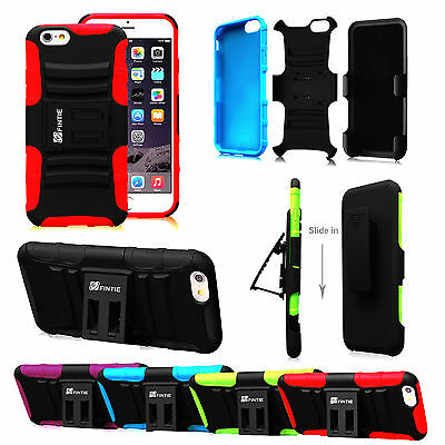 """For iPhone 6 Plus 5.5"""" Dual Layer Case Cover Holster Kickstand Belt Swivel Clip"""