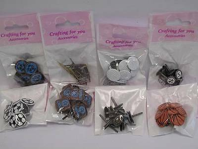 1 x Pack Sports Brads Paper Fasteners 8 Designs to choose from Scrapbooking