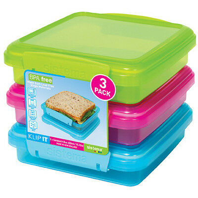Sistema Klip It Sandwich Box 450ml Pack of 3 Lime Green Pink Blue Lunch BPA Free