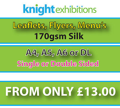 Leaflets / Flyers Printed on 170gsm silk - From £13.00 - A4 / A5 / A6 / DL