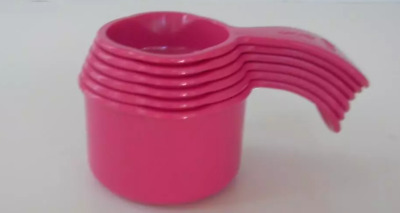 Tupperware Measure Measuring Cups Set Nesting Pink Punch Curved Handles New