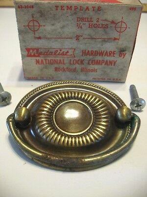 Vintage Antique Brass Oval Dresser Drawer Bale Pulls Hepplewhite National Lock