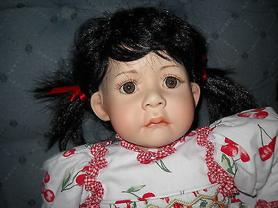 Marie Osmond Sherry Cherry Fruit Cup Toddler Sized Porcelain Doll - EUC !!