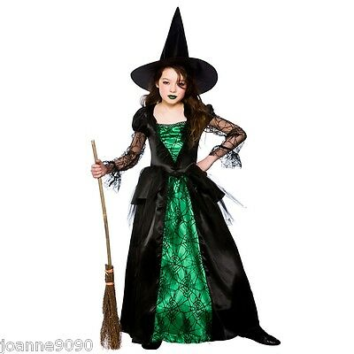Deluxe Girls Emerald Witch With Hat Oz Halloween Fairytale Fancy Dress Costume