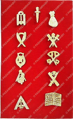 Masonic Lodge Officers Lapel Brass Jewel Pins - Set Of 11 (Eleven) Golden Plated