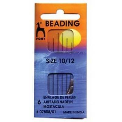 Six Sizes 10 and 12 Pony Beading Needles