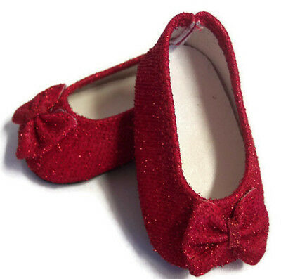 """Red Glitter Bow Shoes made for 18"""" American Girl Doll Clothes"""