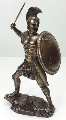 "13"" SPARTAN GREEK WARRIOR Statue HOPLITE SHIELD SWORD Bronze Finsh Art Sculpture"