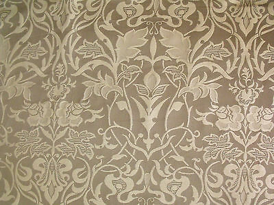 * Art Nouveau Arts & Crafts Floral Beige on Taupe OR Green Upholstery Fabric