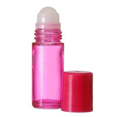 1 Extra Large Empty Pink Glass Roll On Bottle 30 ml./1 oz. New and Refillable