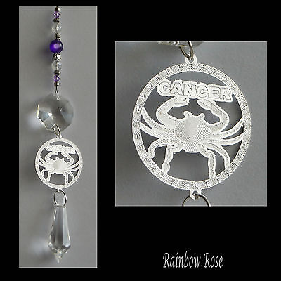 ZODIAC Crystal Suncatcher CANCER Jun 22 - July 22 Star Sign