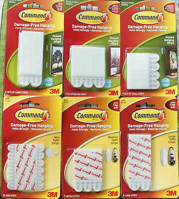 3M Command Strips and Replacement Strip Mini Small Medium Large Picture Hanging